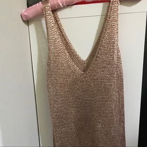 Charlotte Russe Champagne Gold chain link dress